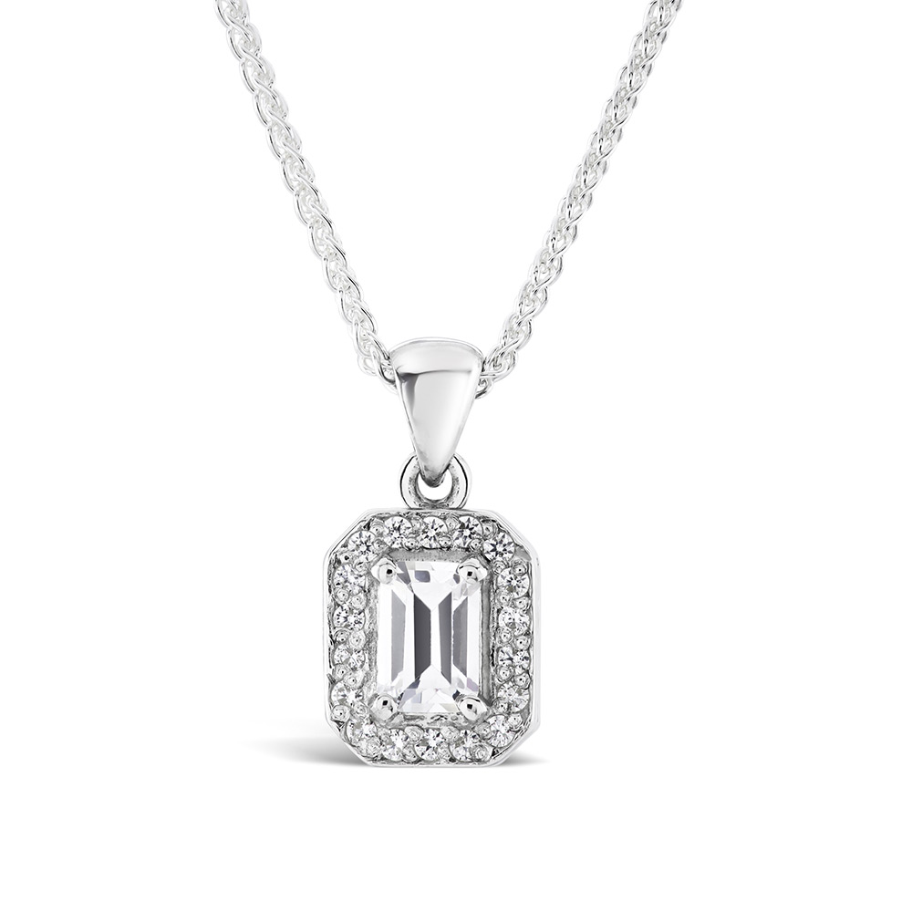 Emerald cut diamond pendant 18 inch chain 070ct kensington jewellery emerald cut diamond pendant 18 inch chain 070ct aloadofball Choice Image